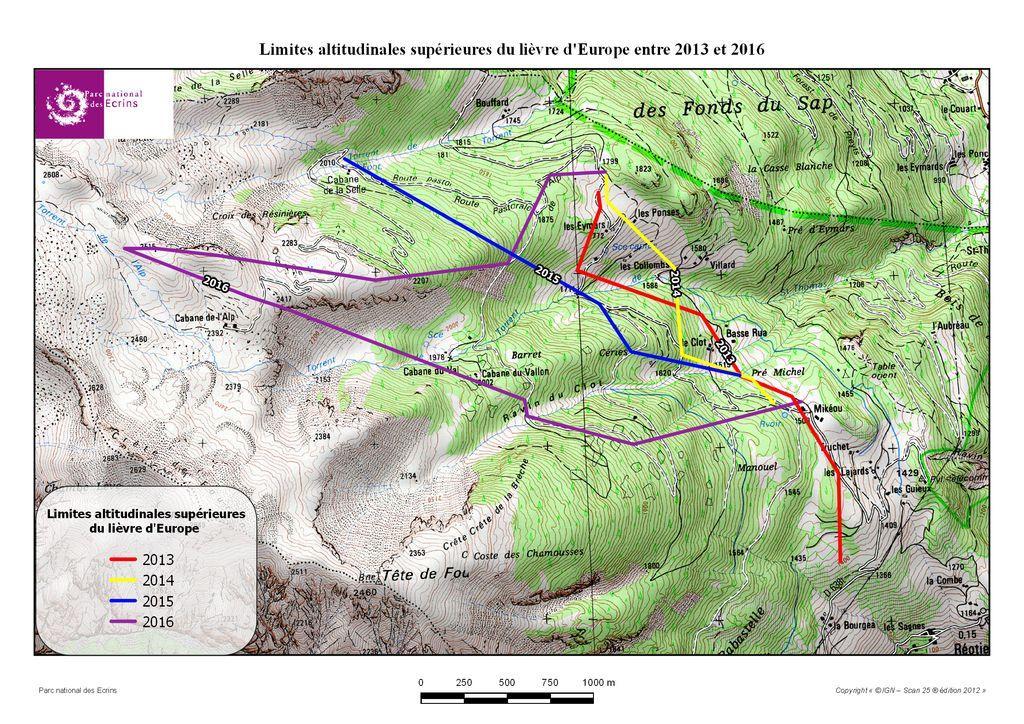 Limite altitudinale supérieure du lièvre d'Europe entre 2013 et 2016 - Parc national des Ecrins