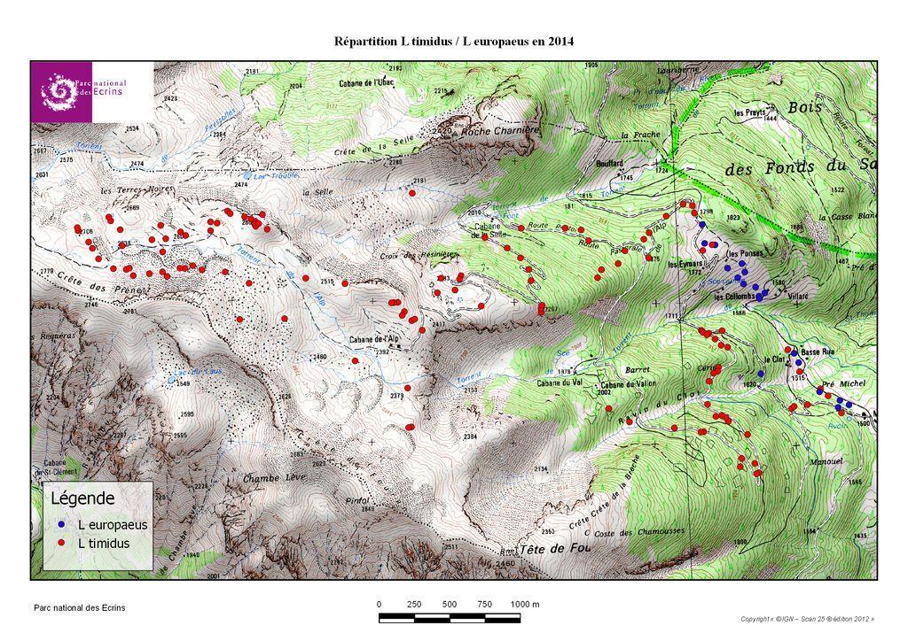 Répartition lièvre variable / lièvre d'Europe en 2014 - Parc national des Ecrins
