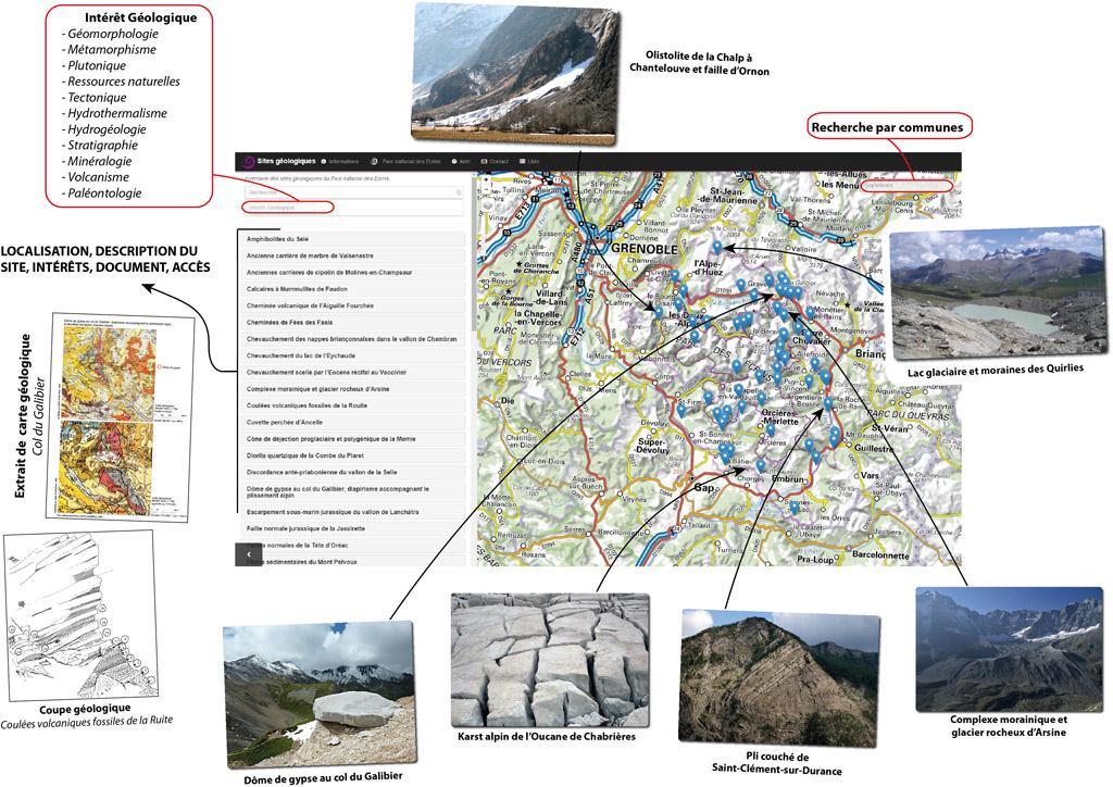 mini site Geol'Ecrins - Parc national des Ecrins