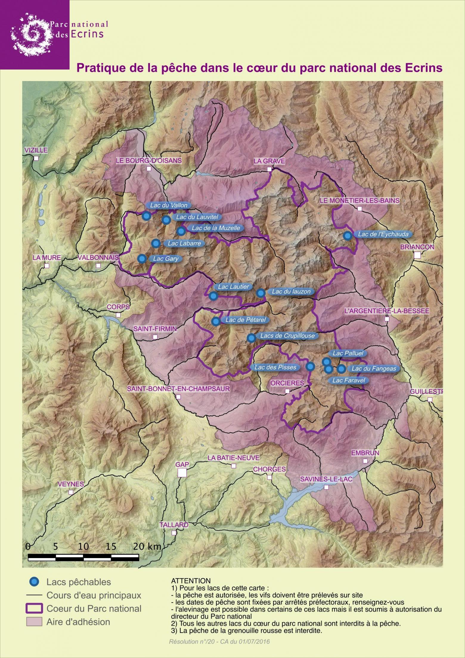 Carte des lacs où la pêche est possible dans le cœur du Parc national  © Parc national des Écrins