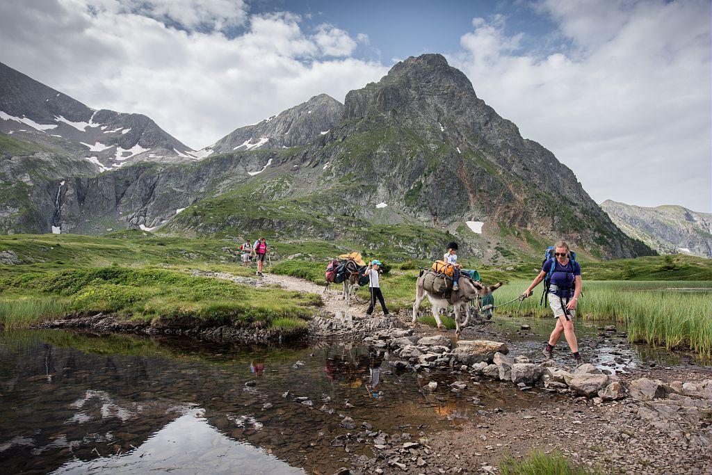 randonnée avec des Anes taillefer - © C.Ayesta - Parc national des Écrins
