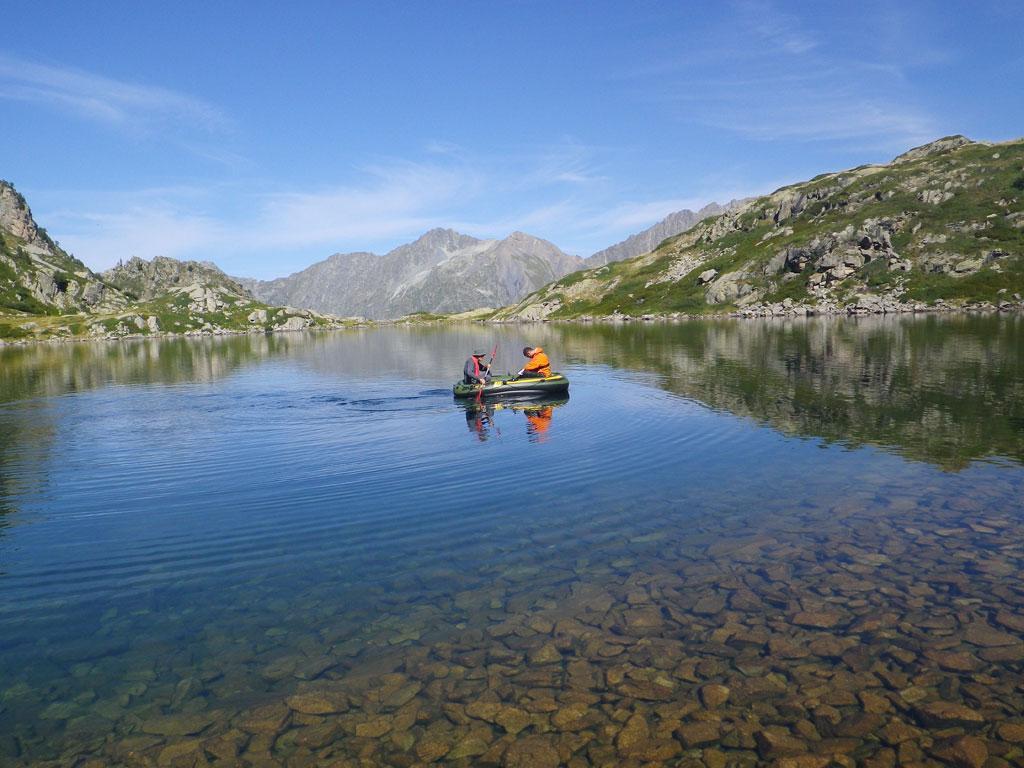 Etude végétation aquatique lacs sentinelle - Pétarel - août 2017 - © C.Sagot -Parc national des Écrins