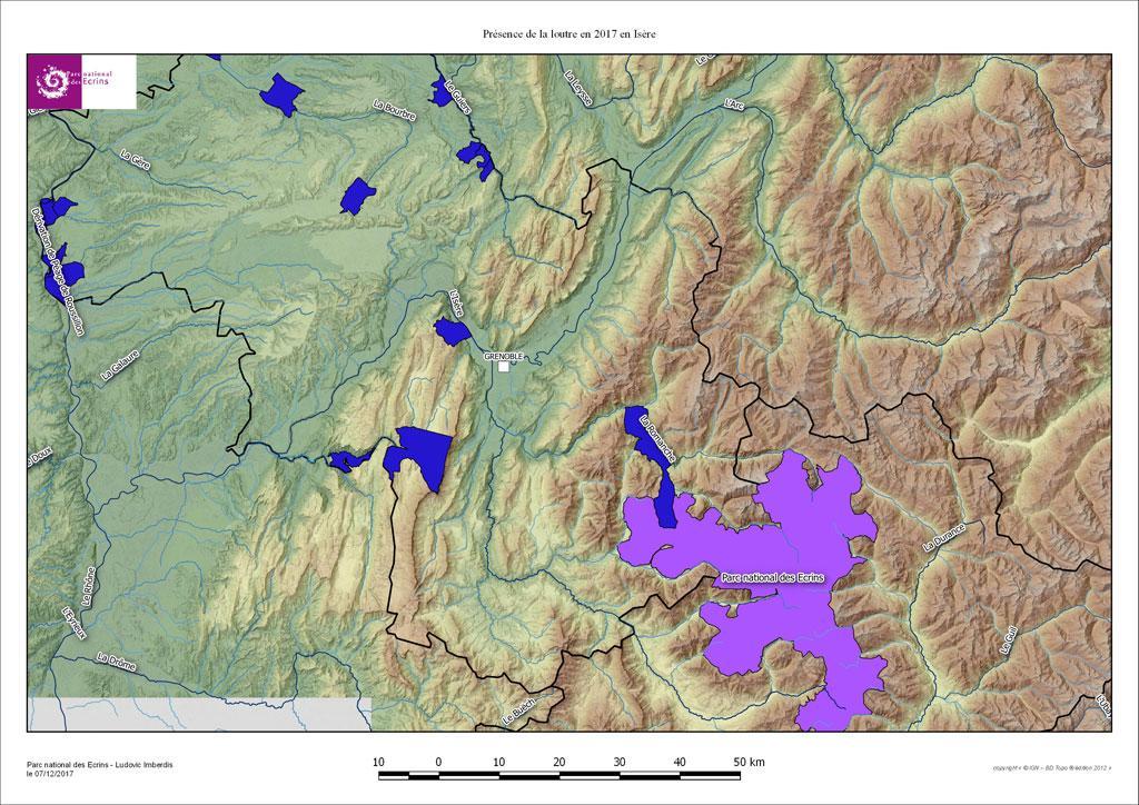 Carte loutre isère 2017 - Parc national des Écrins