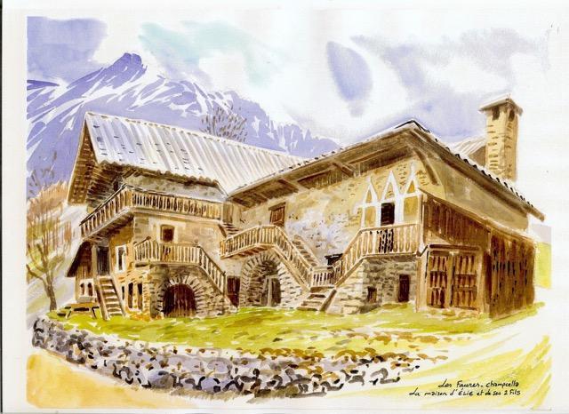 A Champcella, aquarelle Alexis Nouailhat - massif des Écrins