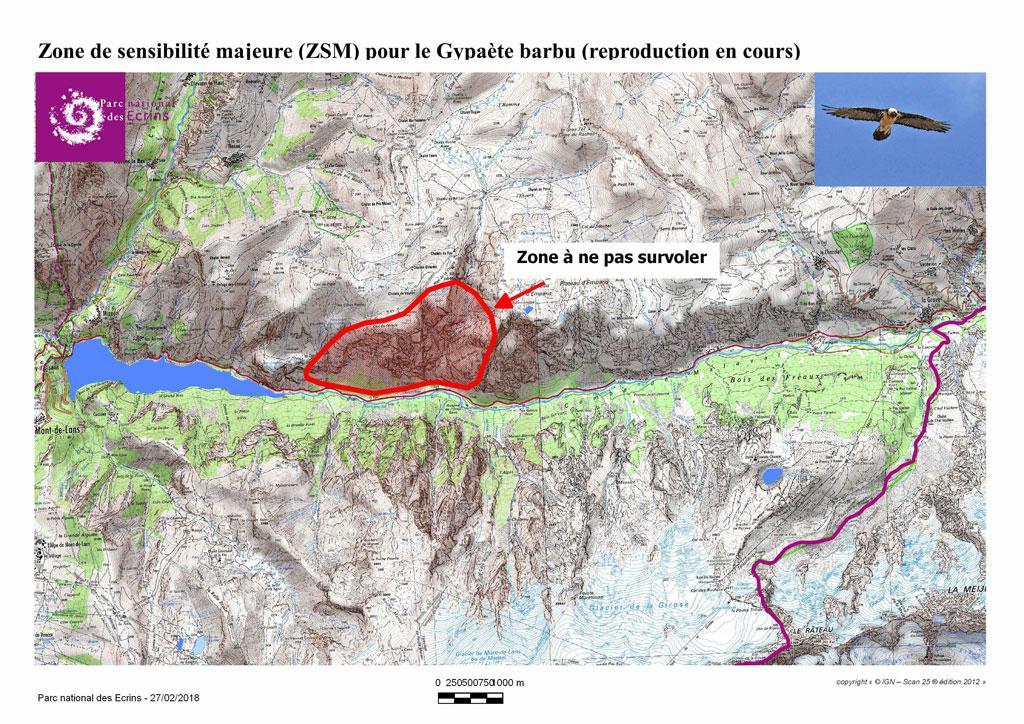 zone de sensibilité majeure - Gypaète barbu - Haute Romanche -Février 2018 - Parc national des Écrins