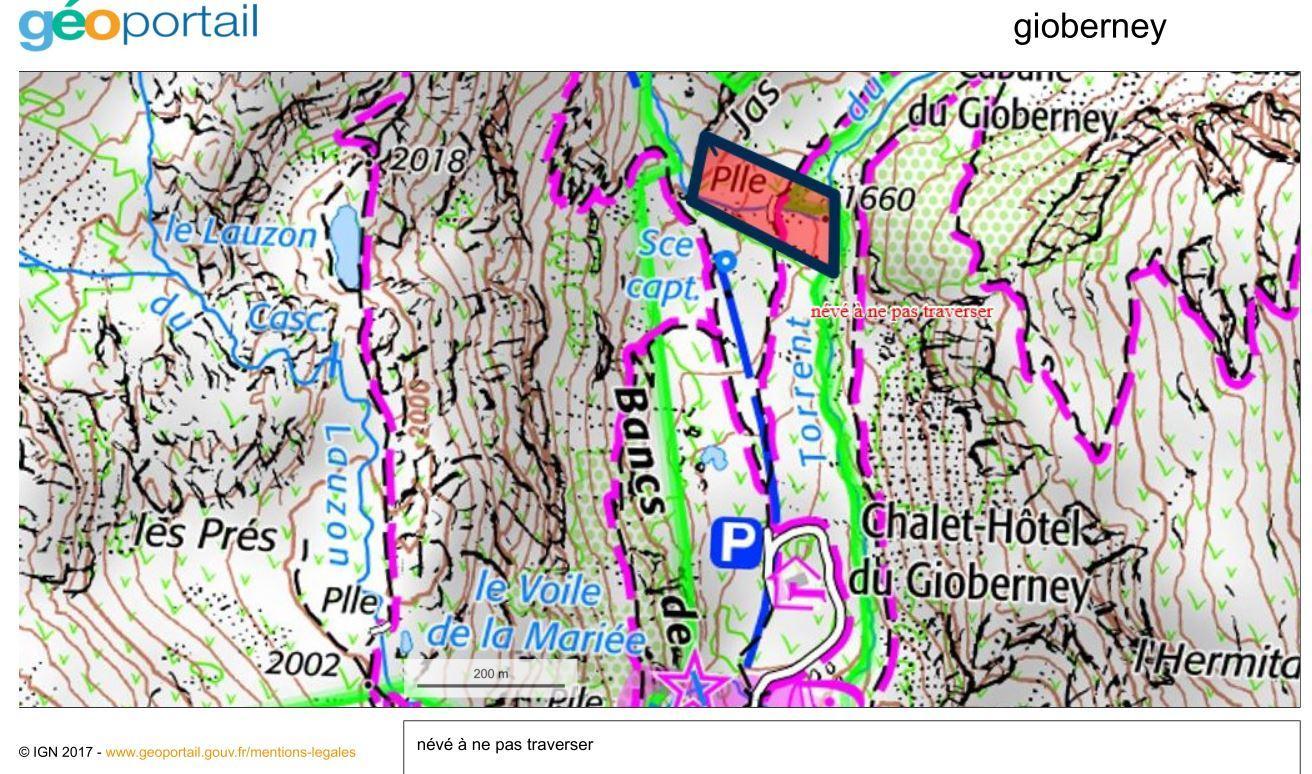 Carte de localisation du névé sur le torrent du Gioberney