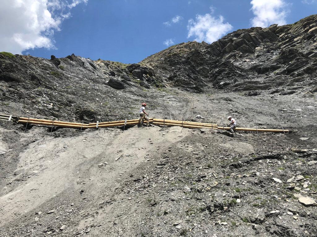 travaux sentier des crevasses, juin 2018 © E.Vannard - Parc national des Écrins