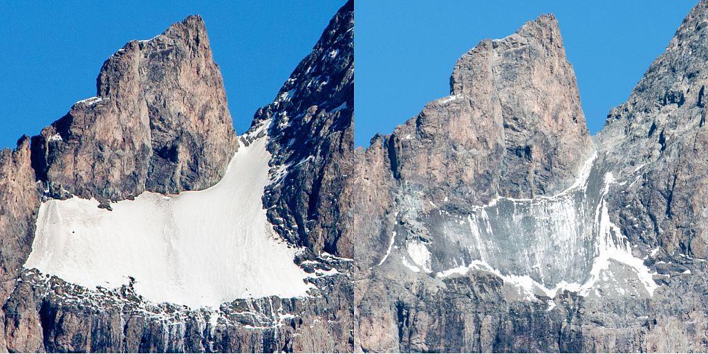 Glacier carré octobre 2008 - octobre 2018 - photos P.Saulay / Aurore Seignemartin - Parc national des Ecrins