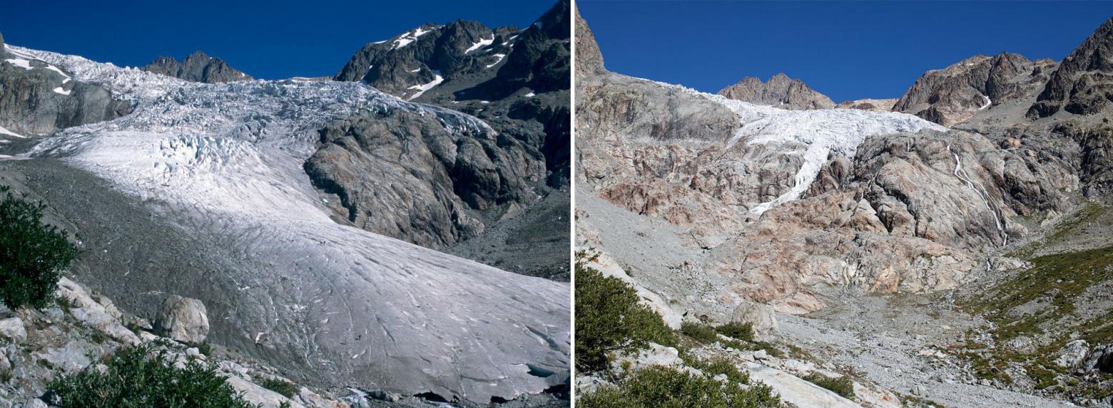 Glacier Blanc - 1995 /2018 - photo constat J.Faure et T.Maillet - Parc national des Ecrins
