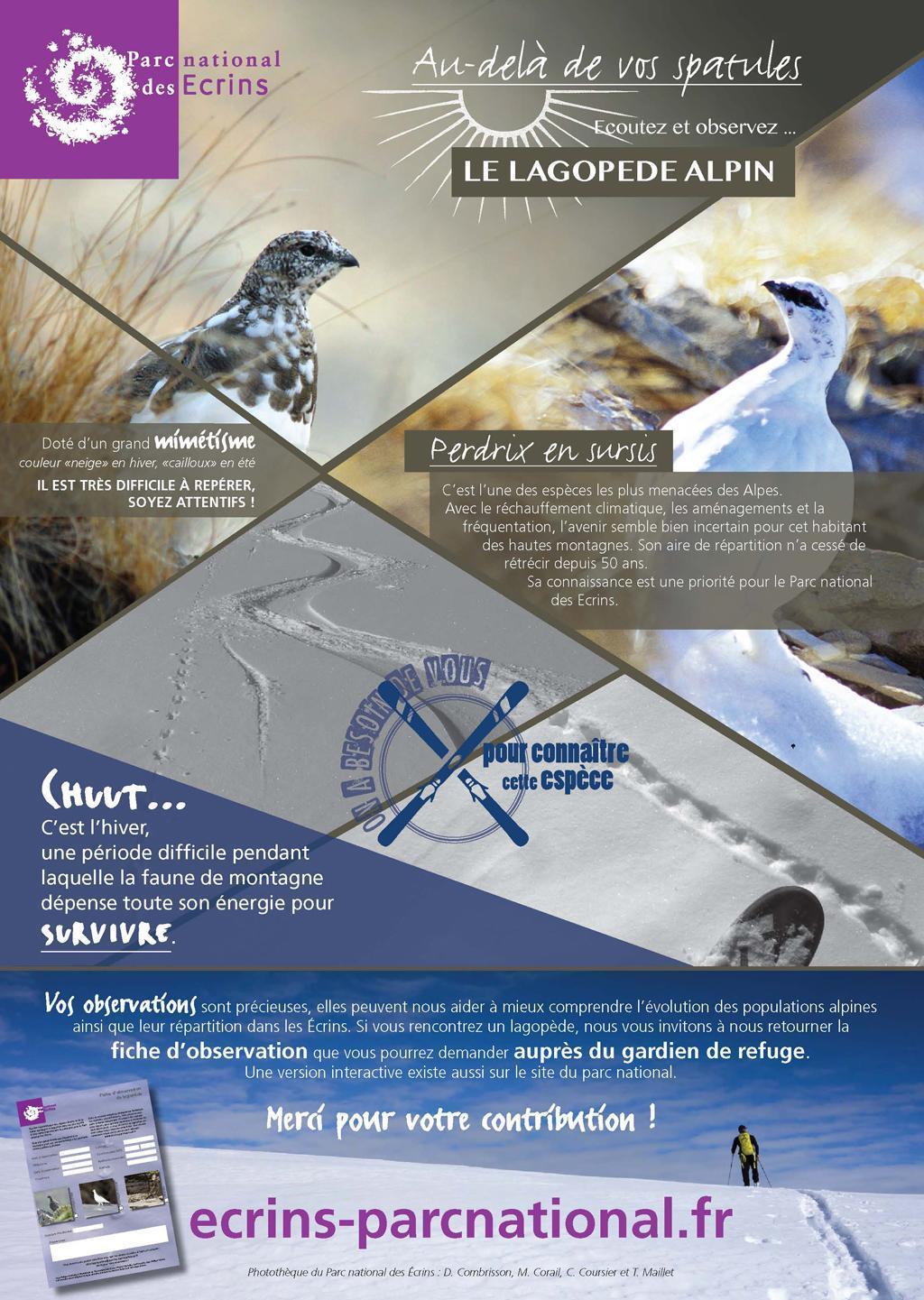 poster refuges observation lagopède - Parc national des Ecrins