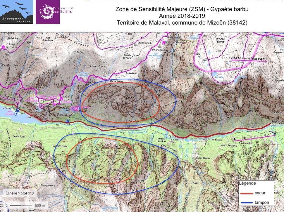 carte de la zone sensibilité majeure (ZSM) - gypaète des Ecrins - pour l'année 2018-2019