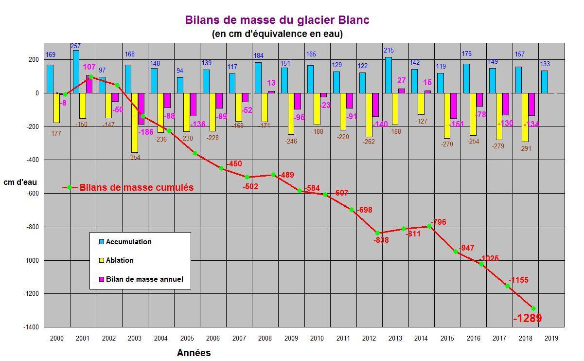 Graphique glacier blanc - mai 2019 - M.Bouvier/PNECRINS