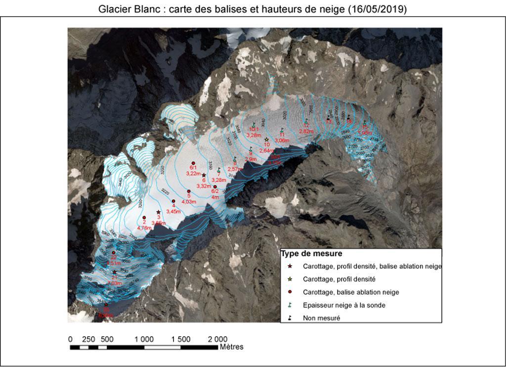 Carte balise Irstea - hauteur de neige - Glacier Blanc - mai 2019