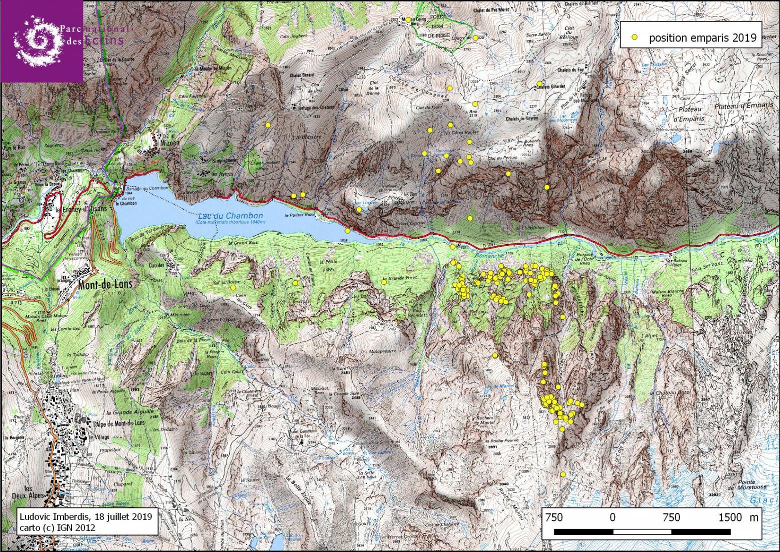 Les premiers déplacements d'Emparis - cartographie L.imberdis - Parc national des Ecrins