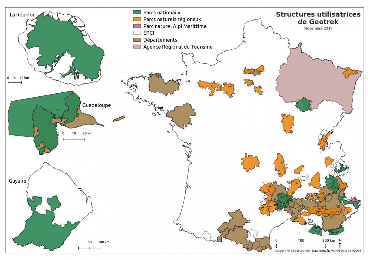 Structures utilisatrices de Geotrek - 3ème rencontres Geotrek à Nimes, novembre 2019 - Parc national des Écrins