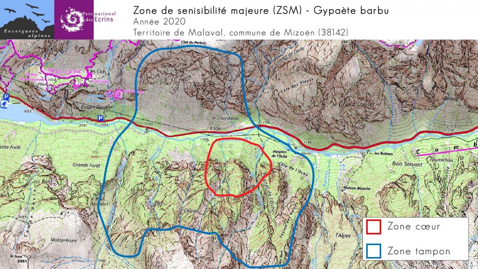 Carte ZMZ 2020 - gypaètes Malaval - Parc national des Écrins