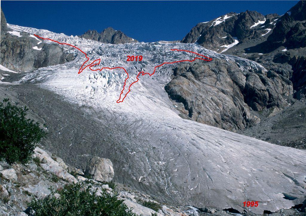 Photo-constat du glacier Blanc (point A : limites 1995-2019) - Photo Joël Faure, PNE