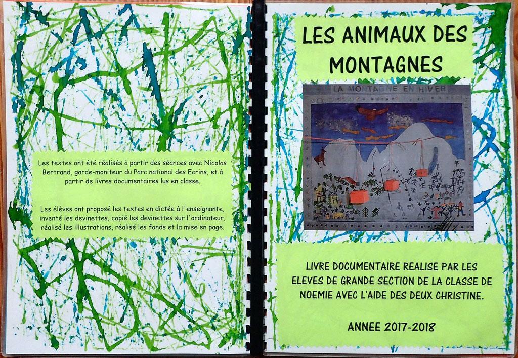 livre maternelle Deux alpes - 6 séances sur les animaux de montagne avec le Parc national des Ecrins - 2017-2018