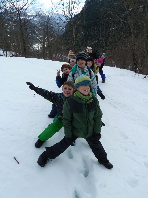 Séance traces, janvier 2018 avec le Parc national des Ecrins - ecole Freissinières