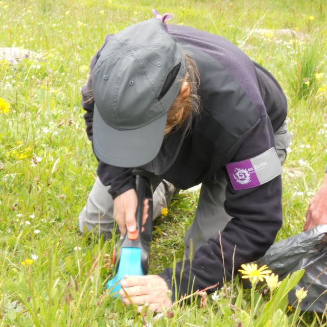 Mesure de la biomasse - alpages sentinelles - photo M.Della-Vedova - Parc national des Ecrins