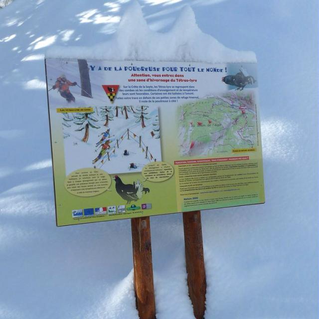 panneau itinéraire seyte - protection tétras lyre - © JP Telmon - Parc national des Ecrins