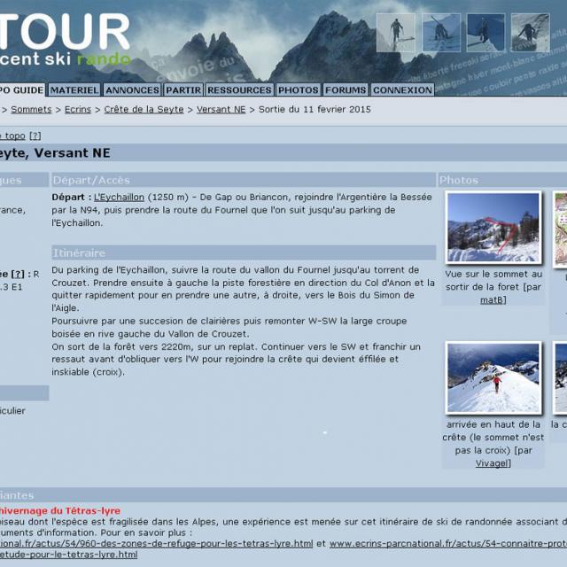 capture écran ski tour -itinéraire seyte