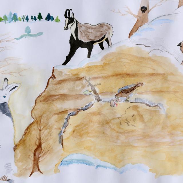 concours dessin hiver 2015 - Parc national des Ecrins -3ème prix collectif Swann SARRON et Mathis MORINO
