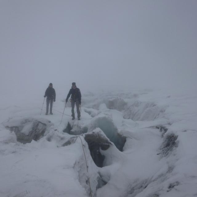 Relevé balises octobre 2015 - glacier Blanc - © C-Albert - Parc national des Ecrins