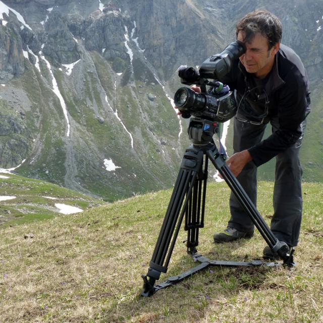 Tournage film bouquetin © H Quellier - Parc national des Écrins