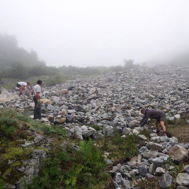 travaux Font Turbat suite dégâts d'orages - août 2017 - Parc national des Écrins