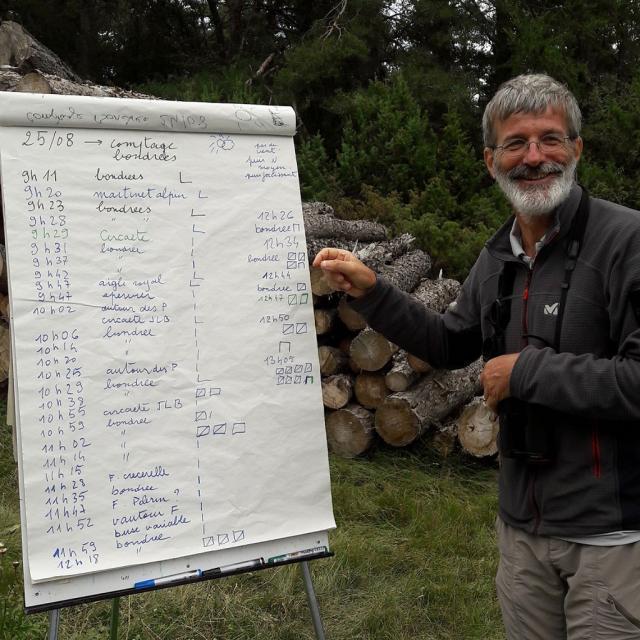 Michel Bouche, technicien patrimoine PNE -comptage bondrées apivore 2018 ©  M.Hélène Fremau