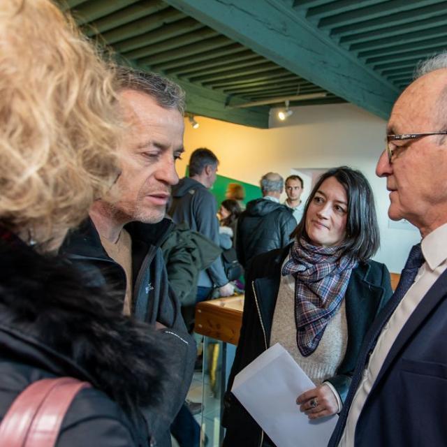 """Inauguration de l'exposition """"Faune d'altitude"""" à la Maison du Parc de Briançon, mercredi 5 février 2020. © Pascal Saulay - Parc national des Écrins"""