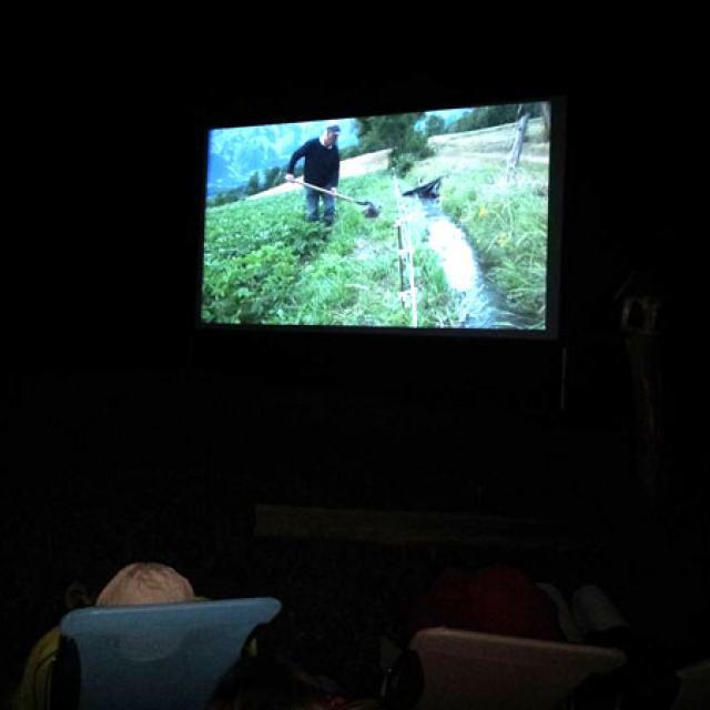 projection en plein air en 2014 à Molines en Champsaur