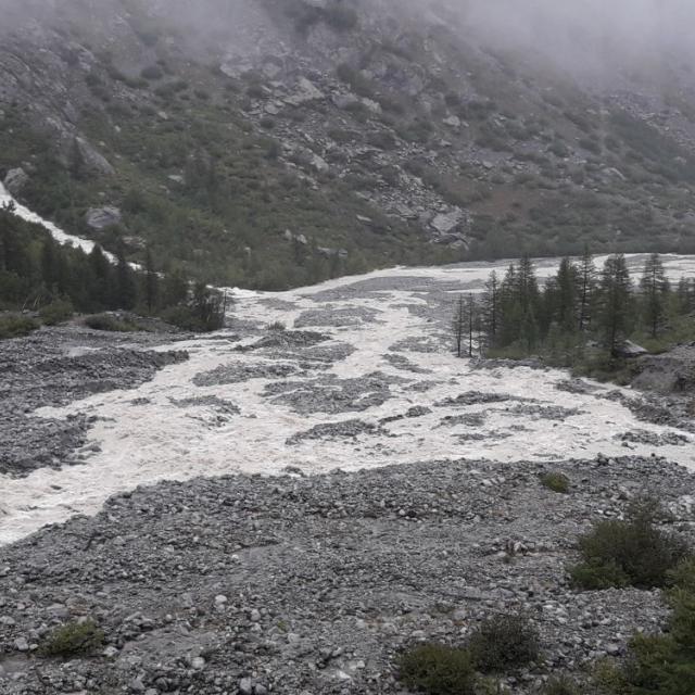 Torrent du glacier Blanc le 29 août 2020
