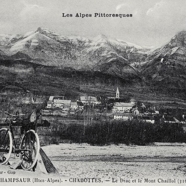 Le Champsaur (Htes-Alpes) - CHABOTTES - Le Drac et le Mont Chaillol (3163m) - collection Parc national des Ecrins