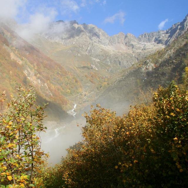 Depuis le sentier du bois des Peines, vue sur le torrent du Villar et les Souffles ©Jean-Philippe Telmon - Parc national des Ecrins