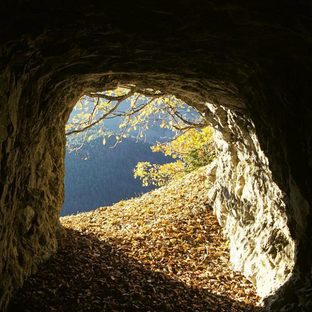 Vue de la sortie d'un grotte